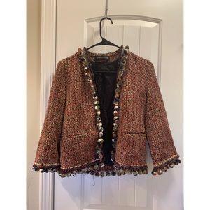 Zara Pom Pom blazer open jacket